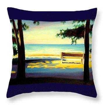 The Beach Throw Pillow by Sheila Diemert