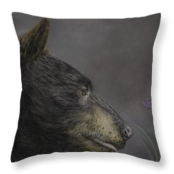 The Bear And The Bee Throw Pillow