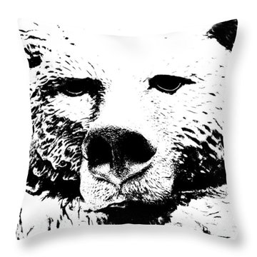 The Bear Throw Pillow by Charlie and Norma Brock
