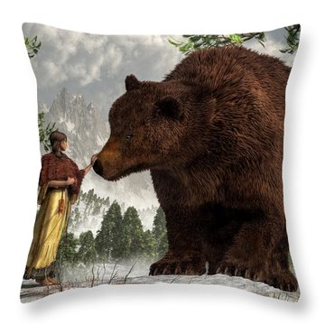 The Bear Woman Throw Pillow