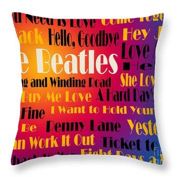 The Beatles 20 Classic Rock Songs 3 Throw Pillow
