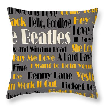 The Beatles 20 Classic Rock Songs 4 Throw Pillow