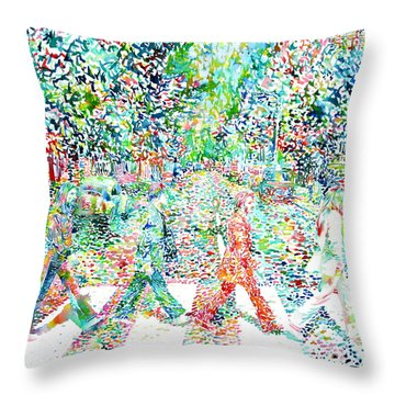 The Beatles - Abbey Road - Watercolor Painting Throw Pillow by Fabrizio Cassetta