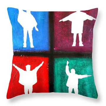 The Beatles Help Pop Art Throw Pillow by Bob Baker