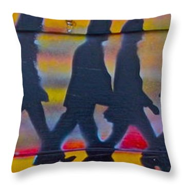 The Beatles Long Wood Throw Pillow by Tony B Conscious