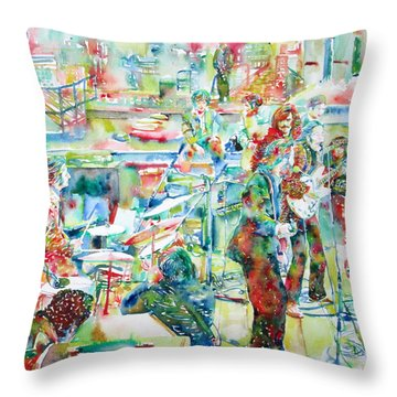 The Beatles Rooftop Concert - Watercolor Painting Throw Pillow