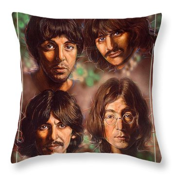 The Beatles Throw Pillow by Tim  Scoggins