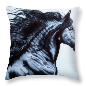 Frederik The Great - Beautiful Friesian   Throw Pillow by Cheryl Poland