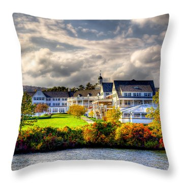 The Beautiful Sagamore Hotel On Lake George Throw Pillow