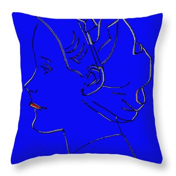 The Beautiful Virgin Chambermaid Blue Throw Pillow by Sir Josef - Social Critic - ART