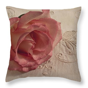 Throw Pillow featuring the photograph The Beauty Of Just One Rose by Sandra Foster