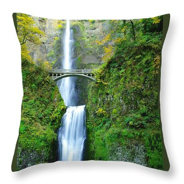 The Beauty Of Multnomah Falls Throw Pillow by Jeff Swan