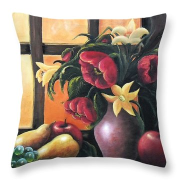 Throw Pillow featuring the painting The Beauty Of The Moment   by Vesna Martinjak