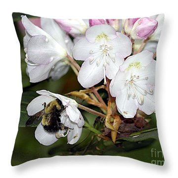 The Bee And The Rhododendron Throw Pillow