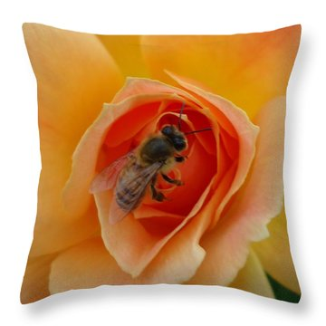 The Beekeeper Throw Pillow by Leslie Manley
