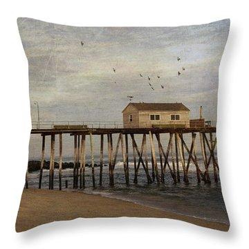 The Belmar Fishing Club Pier Throw Pillow
