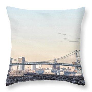 The Ben Franklin Bridge From Penn Treaty Park Throw Pillow by Bill Cannon