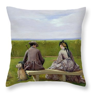 The Bench By The Sea Throw Pillow
