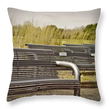 The Benches Throw Pillow by Tom Gari Gallery-Three-Photography