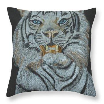 Throw Pillow featuring the pastel The Bengal by Carol Wisniewski