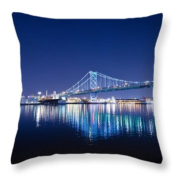 The Benjamin Franklin Bridge At Night Throw Pillow by Bill Cannon