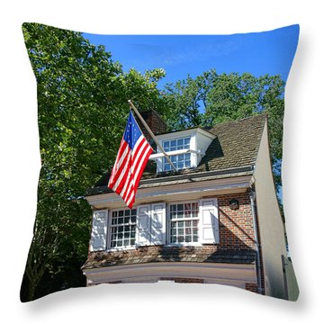 The Betsy Ross House Throw Pillow