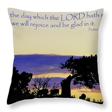 The Bible Psalm 118 24 Throw Pillow by Ron  Tackett