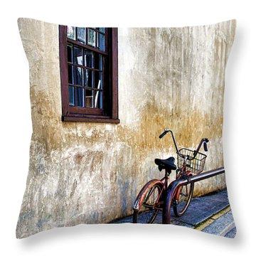 The Bicycle Throw Pillow by Deborah Benoit