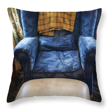 The Big Blue Chair - Oil Throw Pillow by Edward Fielding