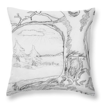 Throw Pillow featuring the painting The Big Oak  by Felicia Tica