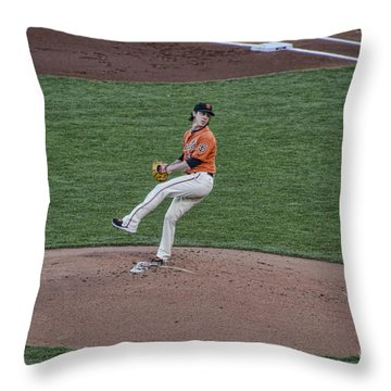 The Big Pitcher Throw Pillow by Judy Wolinsky