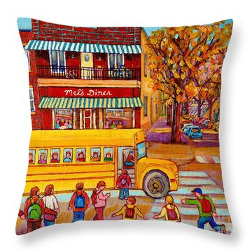 The Big Yellow School Bus Street Scene Paintings Of Montreal Throw Pillow by Carole Spandau