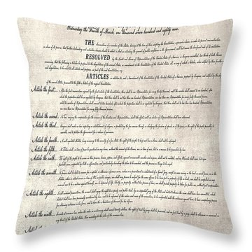 The Bill Of Rights Parchment Throw Pillow