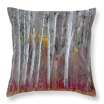 The Birches Panorama  Throw Pillow
