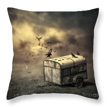 The Bird Table Throw Pillow by Svetlana Sewell