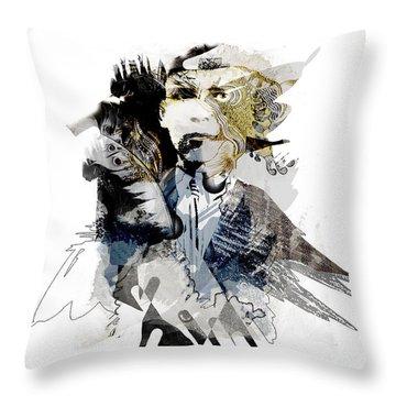 The Birdman Throw Pillow by Aniko Hencz
