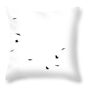 The Birds Throw Pillow by Jessica Brown