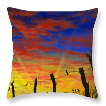The Birds - Red Sky At Night Throw Pillow
