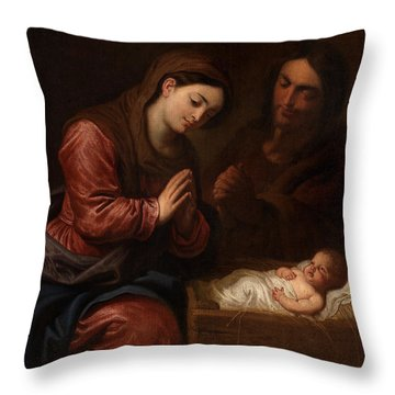 The Birth Of Christ Throw Pillow by Frans II the Younger Francken