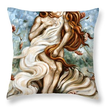 The Birth Of Compassion Throw Pillow by Carrie Joy Byrnes