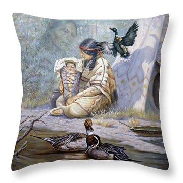 The Birth Of Hiawatha Throw Pillow