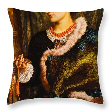 The Birthday Throw Pillow by William Holman Hunt