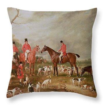 The Birton Hunt Throw Pillow by John E Ferneley