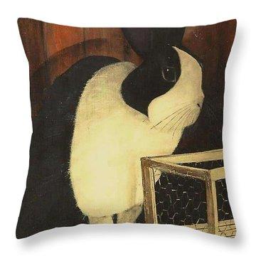 The Black And White Dutch Rabbit  2 Throw Pillow