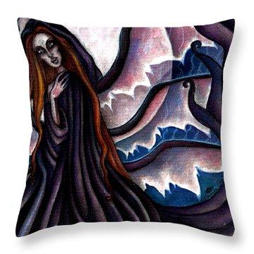 The Black Belladonna Throw Pillow by Coriander  Shea