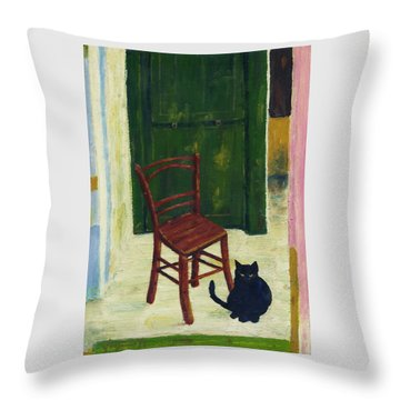 The  Black Cat Throw Pillow by Hartmut Jager