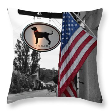 The Black Dog Store Throw Pillow