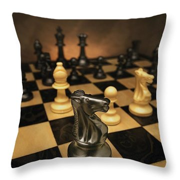 The Black Knight Throw Pillow by Don Hammond