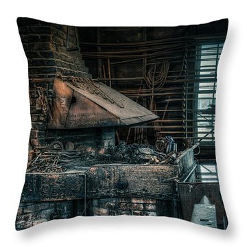 Throw Pillow featuring the photograph The Blacksmith's Forge - Industrial by Gary Heller