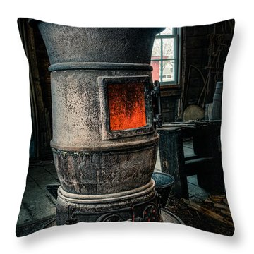 The Blacksmiths Furnace - Industrial Throw Pillow by Gary Heller